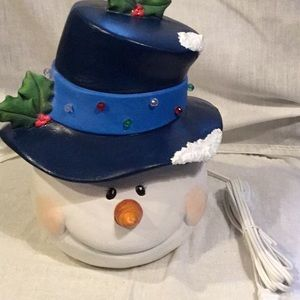 Handmade Ceramic Light Up Snowman Head